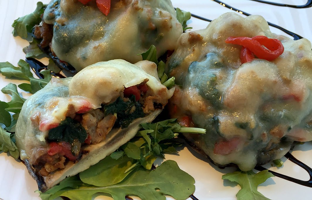 Delicious Orchards » Sausage & Spinach Stuffed Portobello Mushrooms